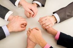 Support. Image of business partners hands holding each other Stock Photography