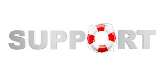 Support. Word with lifebelt isolated on white background Stock Photos