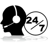 Support 24/7. Icon showing a person with a headset providing phone support 24 hours a day, seven days a week Royalty Free Stock Images