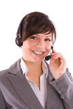 Support. Woman with headset give a support Royalty Free Stock Image
