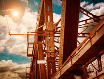 Support above the bridge. Steel structure close-up Stock Images