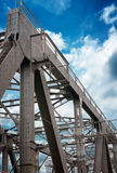 Support above the bridge. Steel structure close-up royalty free stock images