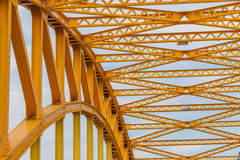 Support above the bridge, steel structure close-up. Stock Photography