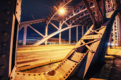 Support above the bridge, steel structure close-up Royalty Free Stock Photography