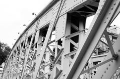 Support above the bridge steel structure close-up Stock Images