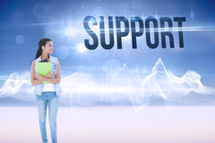 Support against energy design over landscape Royalty Free Stock Photos
