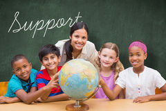 Support against green chalkboard Royalty Free Stock Photography