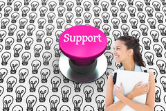 Support against pink push button Stock Images