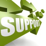 Support arrow in green Royalty Free Stock Photos