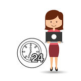 Support assistance concept girl with clock 24 service. Vector illustration eps 10 vector illustration