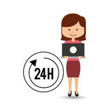 Support assistance concept girl with 24 hours service. Vector illustration eps 10 Stock Image