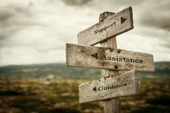 Support, assistance and guidance signpost stock image