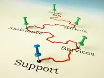 Support and assistance - Road map Stock Photos