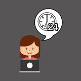 Support assitance concept girl with clock 24 service. Vector illustration eps 10 vector illustration