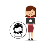 Support assitance concept girl with woman operator. Vector illustration eps 10 Stock Photos