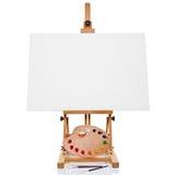 Support avec la peinture et les balais blanc de palette de toile Images stock