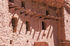 Support Beams at Manitou Cave Dwellings. Manitou Springs, CO/USA - Circa September 2016: Support beams of the homes at the Manitou Cliff Dwellings in Manitou Royalty Free Stock Photo