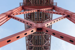 Support beams on red bridge Royalty Free Stock Photos