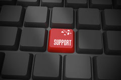 Support on black keyboard with red key Stock Images