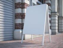 Support blanc de la publicité sur la rue rendu 3d Photos stock