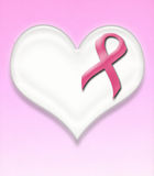 Support breast cancer pink ribbon pin on heart Royalty Free Stock Photo