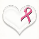Support breast cancer pink ribbon pin on heart Royalty Free Stock Photography