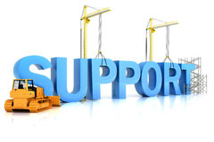 Support building concept on a white background. SUPPORT word, representing development in sports ,recreation , or work place Stock Photography