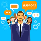 Support Business People Group Technical Team On. Line Chat Flat Vector Illustration Stock Photos