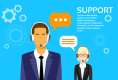 Support Business People Group Technical Team On. Line Chat Flat Vector Illustration Royalty Free Stock Photo