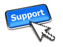 Support button and arrow cursor Stock Photo