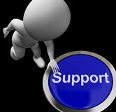 Support Button Shows Help Faq And Assistance Royalty Free Stock Photo