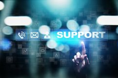 Support button on virtual screen. Customer service and communication concept. stock image
