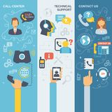 Support Call Center Banner. Technical support call center contact us flat vertical banner set  vector illustration Stock Photography