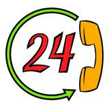 Support call center 24 hours icon cartoon. Support call center 24 hours icon in cartoon style isolated vector illustration Stock Photos