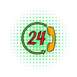Support call center 24 hours icon, comics style Stock Images