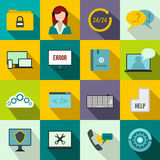 Support, call center icons set, flat style Stock Photography