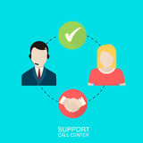 Support call center  illustration. Stock Photo