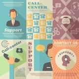 Support Call Center Poster. Support call center contact us vintage mini poster set isolated vector illustration Stock Photography