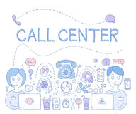 Support Call Center. Vector Illustration Royalty Free Stock Photography