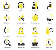 Support center and ceo vector icons. Set of vector icons on support center, team work, conference, discussion, meetings Stock Images