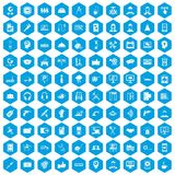 100 support icons set blue. 100 support center icons set in blue hexagon isolated vector illustration Stock Photography