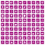 100 support icons set grunge pink. 100 support center icons set in grunge style pink color isolated on white background vector illustration Vector Illustration