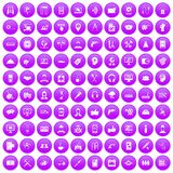 100 support icons set purple. 100 support center icons set in purple circle isolated on white vector illustration Stock Illustration