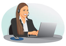 Support center operator. Smiling support center operator with headset sitting at office Stock Photography