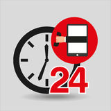 Support center via phone 24 hours. Vector illustration eps 10 Royalty Free Stock Photography