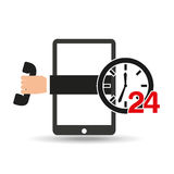 Support center via phone 24 hours. Vector illustration eps 10 Royalty Free Stock Photos