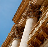 Support Columns at Vatican City. Vatican City architecture ancient columns inspire viewers to follow the tall columns skyward stock photos