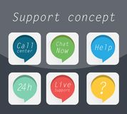 Support concept. Flat icons set, Call center, Chat now, Help Royalty Free Stock Photo