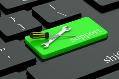 Support concept  on keyboard button Royalty Free Stock Photography