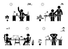 Support, conversation, rest, great idea at the office icon set. Stick figure business meeting pictogram. Support, conversation, rest, great idea at the office royalty free illustration